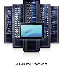 Server Rack Laptop Realistic Isolated Illustration