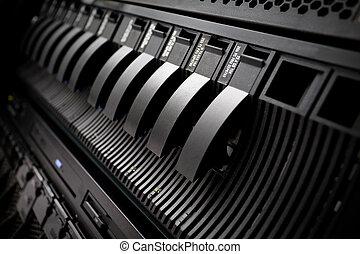 Server rack SAN in data center - Black server SAN with drisk...