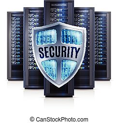 Server Rack Security Shield Realistic  Illustration