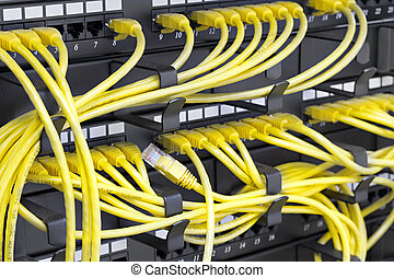 server rack - Patch Panel server rack with yellow cords