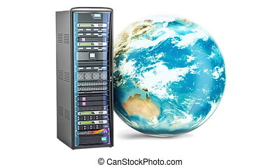 Server Rack with rotating Earth Globe. Global internet...