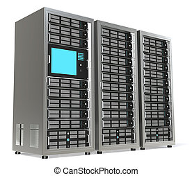 Server Rack X3 - 3 Server Racks. One with a Monitor mounted.