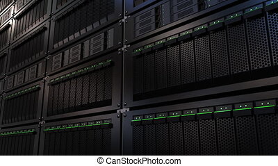 Server racks. Cloud storage technology or modern data center...