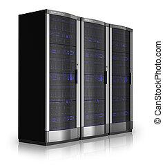 Server racks isolated on white reflective background *** I...