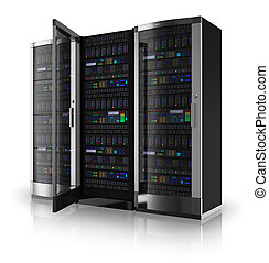 Server racks with one open door isolated on white reflective background *** Design of these servers is my own and all text labels and numbers are fully abstract