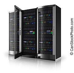 Server racks with open door - Server racks with one open ...
