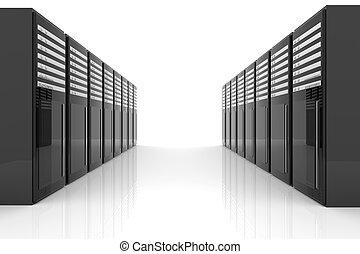 Server Room - 3D Illustration. Isolated on white.