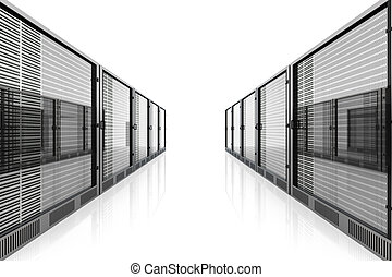 Server Room - 3D rendered Illustration. Isolated on white.
