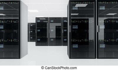 CPU Unit Server Room Data Center 3D animation