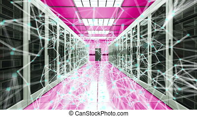 Server room and connection dots in datacenter, web network and internet telecommunication technology, data storage and cloud service concept, 3d rendering