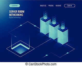 Server room banner, web hosting and processing of big data concept, ultraviolet isometric vector