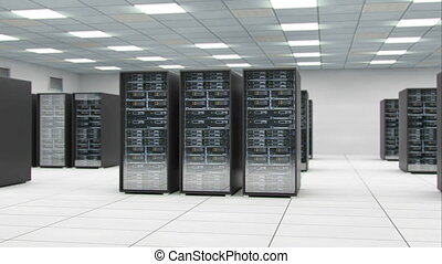 Server room center exchanging cyber datas and connections 3D...