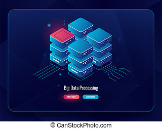 Server room, cloud storage big data processing isometric icon, futuristic digital solutions, abstract technology element dark neon vector, database