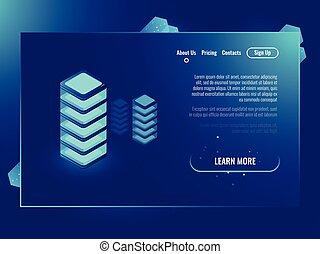 Server room, concept, isometric vector illustration of data center and data exhange, cloud storage neon dark gradient background