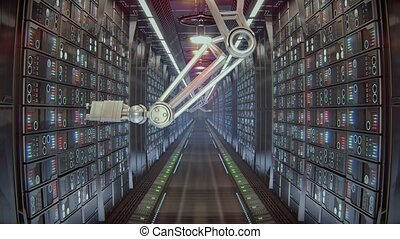 Server Room futuristic sci fi - Server Room 3d animation 4k