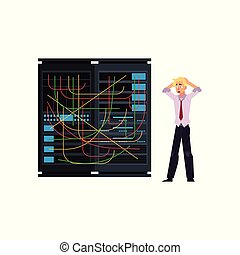 Server room illustration - data center storage with tangled wires and young system administrator.