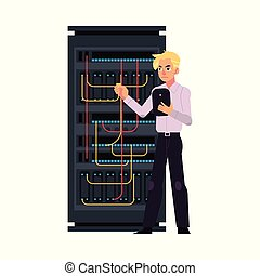 Server room illustration with data center and young system administrator connecting cables.