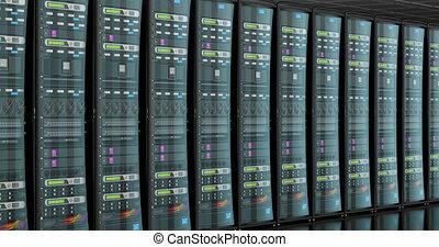 Server room in data center, animation. 3D rendering