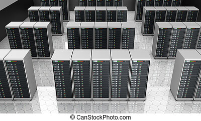 Server room in datacenter ,clusters