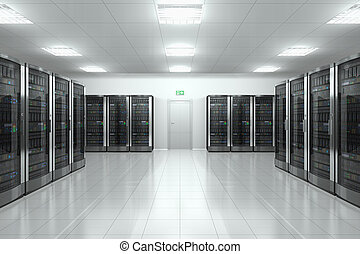 Server room in datacenter - Modern network and communication...