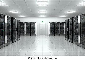 Server room in datacenter - Modern network and communication...