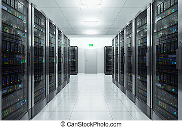 Server room in datacenter - Modern network and ...