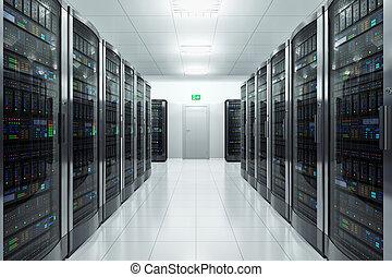 Server room in datacenter - Modern network and...