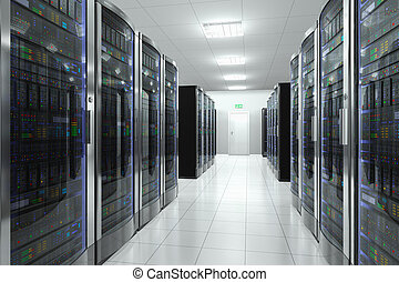 Modern network and telecommunication technology computer concept: server room in datacenter Design is totally my own and all text labels are fully abstract