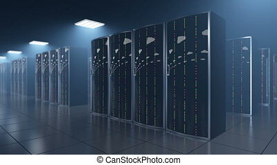 Server room in datastore with clouds reflection - 3d...