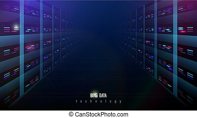 Server room interior in datacenter and Supercomputers. Concept of big data storage network  and cloud computing technology