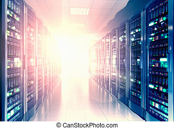 Server room interior in datacenter - Modern web network and...