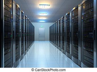 Server room interior - Modern interior of server room in...