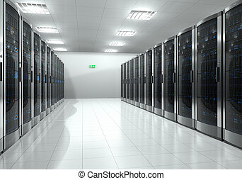 Server room interior - Modern interior of server room in...