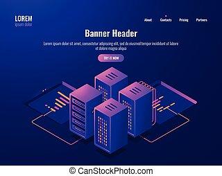 Server room isometric icon, big data processing and datacenter concept, database cloud storage, web hosting dark neon