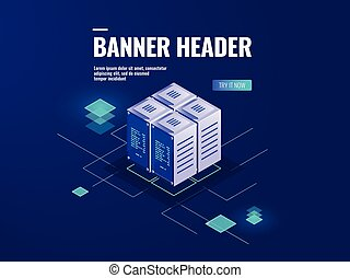 Server room isometric icon, big data processing, data warehouse, cloud storage technology vector dark neon