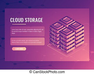 Server room, isometric vector digital technology abstract element, data center and database banner, cloud file storage 3d