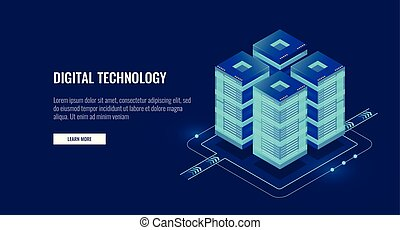 Server room isometric vector, futuristic technology of data protection and processing, networking and web hosting banner