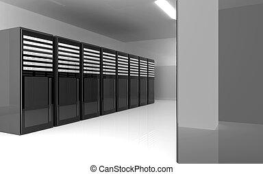 Server Room - 3d rendered Illustration