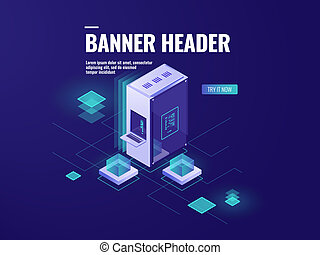 Server room, web hosting isometric icon, datacenter and database vector illustration, computer