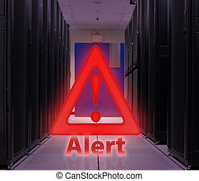 Server Room With Alert popup ; Security concept