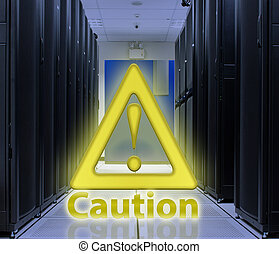 Server Room With Caution popup ; Security concept