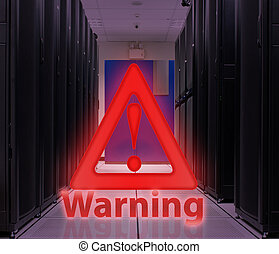 Server Room With Warning popup ; Security concept