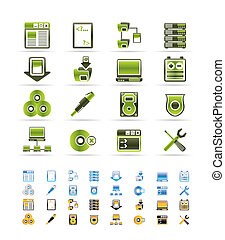 Server Side Computer icons - Vector Icon Set - 3 colors included