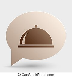 Server sign illustration. Brown gradient icon on bubble with shadow.