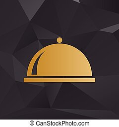 Server sign illustration. Golden style on background with polygons.