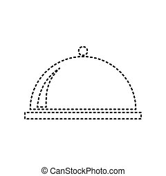 Server sign illustration. Vector. Black dashed icon on white background. Isolated.