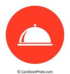 Server sign illustration. White icon on red circle.