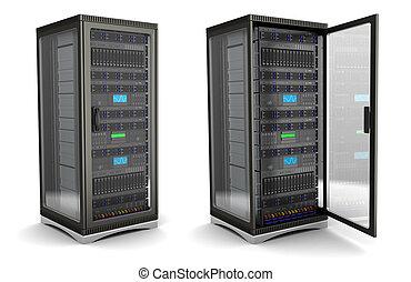 server stand - 3d illustration of server rack stand opened ...