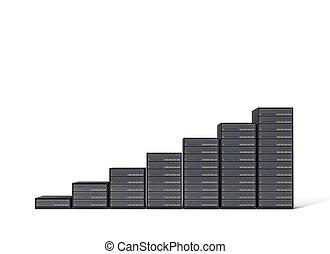 server - 3d server stair on white background