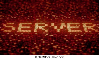 SERVER word being made with flashing hexadecimal symbols on...